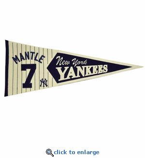 Mickey Mantle Legends Wool Pennant 13x 32 - New York Yankees