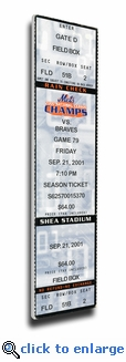Mike Piazza Post 9/11 Home Run Canvas Mega Ticket - New York Mets