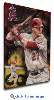 Mike Trout 12x18 Art Reproduction on Canvas by Justyn Farano - Angels