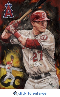 Mike Trout Autographed Hand Embellished Artist Recreation on Canvas by Justyn Farano - Angels