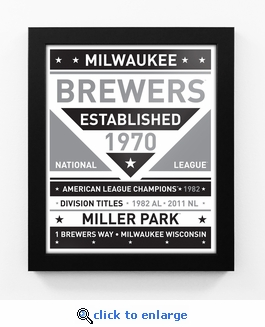 Milwaukee Brewers Black and White Team Sign Print Framed