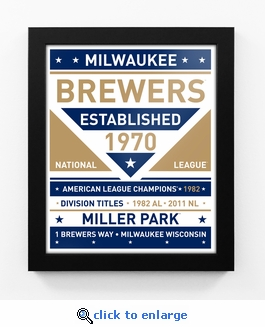 Milwaukee Brewers Dual Tone Team Sign Print Framed
