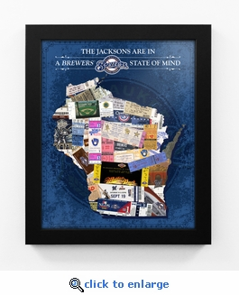 Milwaukee Brewers Personalized State of Mind Framed Print - Wisconsin