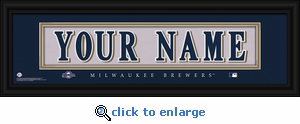 Milwaukee Brewers Personalized Stitched Jersey Nameplate Framed Print