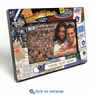 Milwaukee Brewers Personalized Ticket Collage Black Wood Edge 4x6 inch Picture Frame