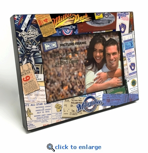 Milwaukee Brewers Ticket Collage Black Wood Edge 4x6 inch Picture Frame