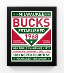 Milwaukee Bucks Dual Tone Team Sign Print Framed