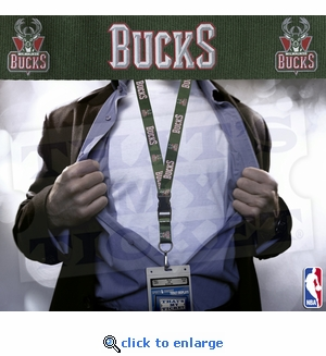 Milwaukee Bucks NBA Lanyard Key Chain and Ticket Holder - Green