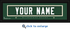 Milwaukee Bucks Personalized Stitched Jersey Nameplate Framed Print
