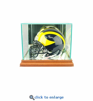 Mini Football Helmet Display Case - Walnut