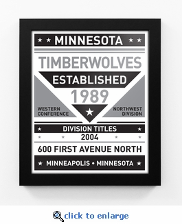 Minnesota Timberwolves Black and White Team Sign Print Framed