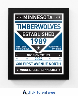 Minnesota Timberwolves Dual Tone Team Sign Print Framed