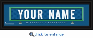 Minnesota Timberwolves Personalized Stitched Jersey Nameplate Framed Print