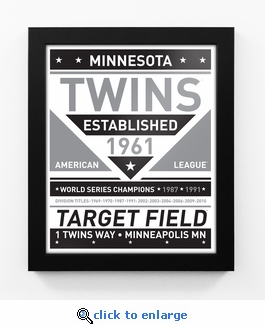 Minnesota Twins Black and White Team Sign Print Framed