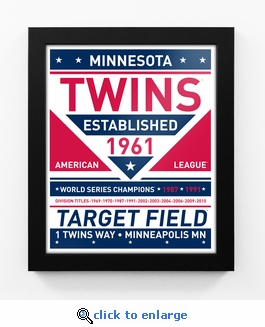 Minnesota Twins Dual Tone Team Sign Print Framed