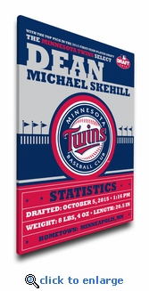 Minnesota Twins Personalized Canvas Birth Announcement - Baby Gift
