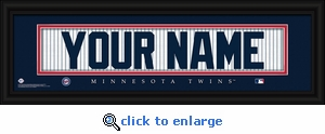 Minnesota Twins Personalized Stitched Jersey Nameplate Framed Print
