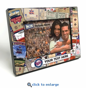 Minnesota Twins Personalized Ticket Collage Black Wood Edge 4x6 inch Picture Frame
