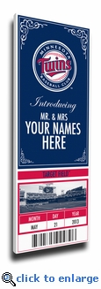 Minnesota Twins Personalized Special Occasion Announcement on Canvas - Ticket Design