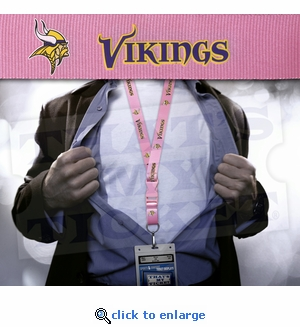 Minnesota Vikings NFL Lanyard Key Chain and Ticket Holder - Pink
