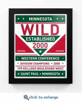 Minnesota Wild Dual Tone Team Sign Print Framed