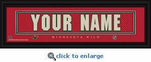 Minnesota Wild Personalized Stitched Jersey Nameplate Framed Print