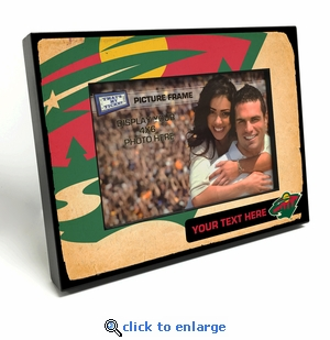 Minnesota Wild Personalized Vintage Style Black Wood Edge 4x6 inch Picture Frame