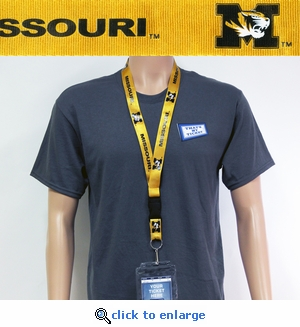 Missouri Tigers NCAA Lanyard Key Chain and Ticket Holder - Yellow