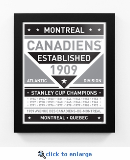 Montreal Canadiens Black and White Team Sign Print Framed