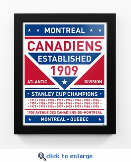 Montreal Canadiens Dual Tone Team Sign Print Framed