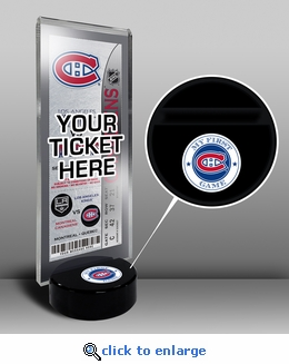 Montreal Canadiens My First Game Hockey Puck Ticket Stand