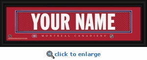 Montreal Canadiens Personalized Stitched Jersey Nameplate Framed Print