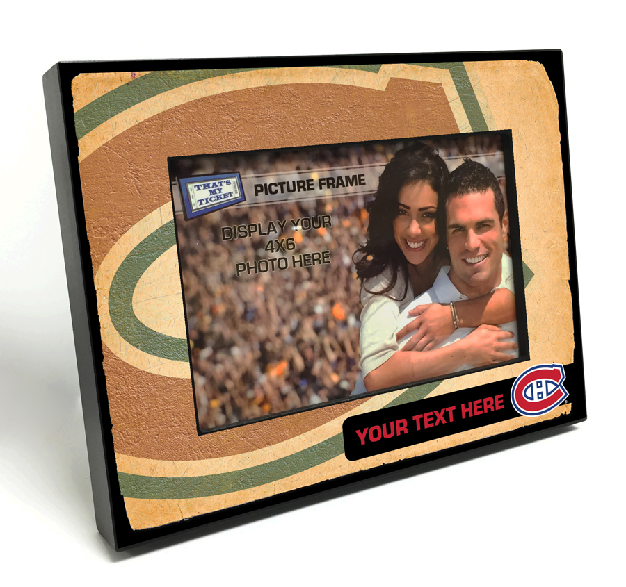 Montreal Canadiens Personalized Vintage Style Black Wood Edge 4x6
