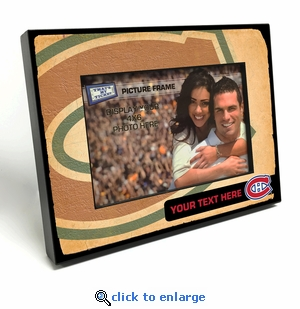 Montreal Canadiens Personalized Vintage Style Black Wood Edge 4x6 inch Picture Frame
