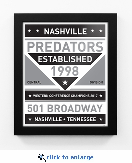 Nashville Predators Black and White Team Sign Print Framed