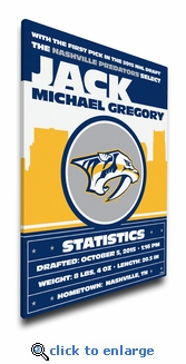Nashville Predators Personalized Canvas Birth Announcement - Baby Gift