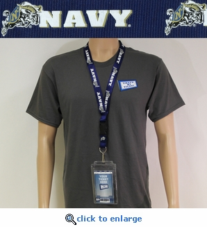 Navy Lanyard Key Chain with Ticket Holder