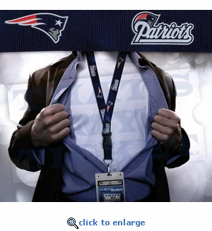 New England Patriots NFL Lanyard Key Chain and Ticket Holder - Blue