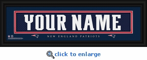 New England Patriots Personalized Stitched Jersey Nameplate Framed Print