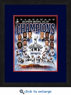 New England Patriots Super Bowl 49 Champions Framed Matted 8x10 Collage Photo