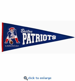 New England Patriots Throwback Wool Pennant (13 x 32)