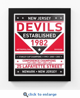 New Jersey Devils Dual Tone Team Sign Print Framed