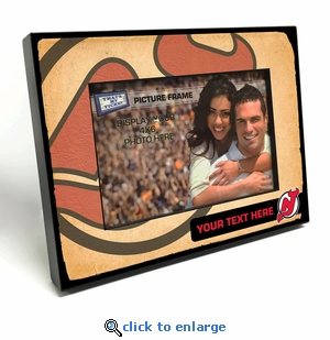 New Jersey Devils Personalized Vintage Style Black Wood Edge 4x6 inch Picture Frame