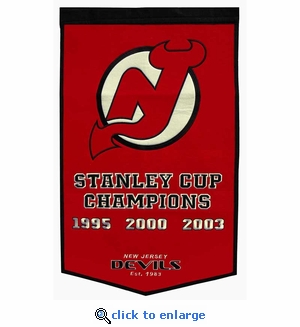 New Jersey Devils Stanley Cup Dynasty Wool Banner (24 x 36)
