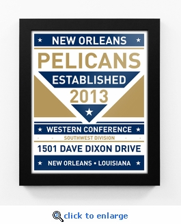 New Orleans Pelicans Dual Tone Team Sign Print Framed