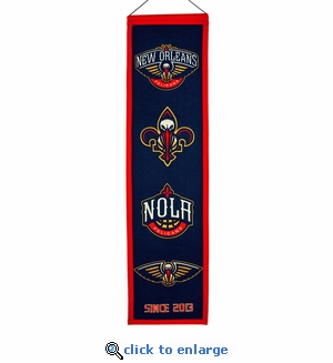 New Orleans Pelicans Heritage Wool Banner (8 x 32)
