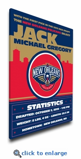 New Orleans Pelicans Personalized Canvas Birth Announcement - Baby Gift