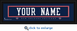 New Orleans Pelicans Personalized Stitched Jersey Nameplate Framed Print