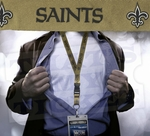 New Orleans Saints NFL Lanyard Key Chain and Ticket Holder - Gold