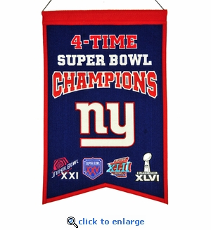 New York Giants 4-Time Super Bowl Champions Wool Banner (14 x 22)